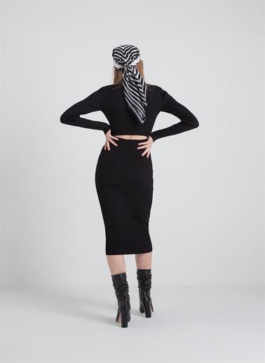 Rue Bel Dekolteli Dar Triko Elbise Siyah